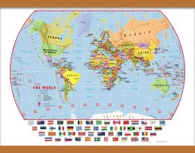 Medium Elementary School Political World Wall Map with flags (Wooden hanging bars)