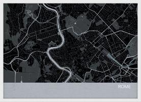 ARCH B Rome City Street Map Print - Charcoal (Wood Frame - White)