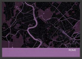 Small Rome City Street Map Print - Mauve (Wood Frame - Black)