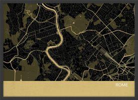 ARCH B Rome City Street Map Print - Straw (Wood Frame - Black)