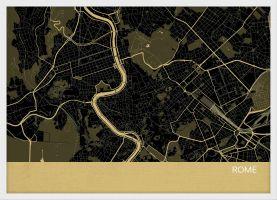 Small Rome City Street Map Print - Straw (Wood Frame - White)