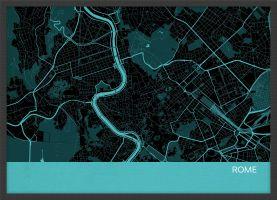 ARCH B Rome City Street Map Print - Turquoise (Wood Frame - Black)