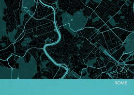 Rome City Street Map Print - Turquoise
