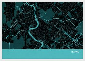 Small Rome City Street Map Print - Turquoise (Wood Frame - White)