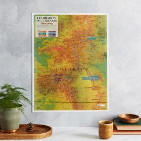Scratch Off Colorado Fourteeners Print (Pinboard & wood frame - White)