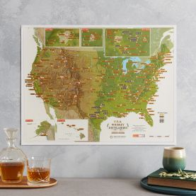 Scratch Off USA Whiskey Distilleries Print (Pinboard & wood frame - Black)