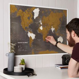 Scratch the World® black edition map print