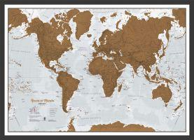 Scratch the World® Spanish language edition map print (Pinboard & wood frame - Black)