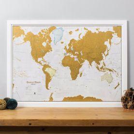 Scratch the World® Spanish language edition map print (Pinboard & wood frame - White)