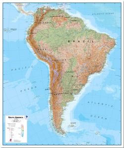 Large South America Wall Map Physical (Pinboard)
