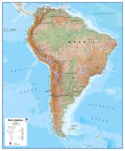 Physical South America Wall Map