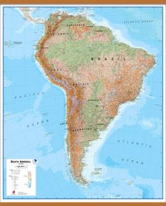 Large Physical South America Wall Map (Wooden hanging bars)