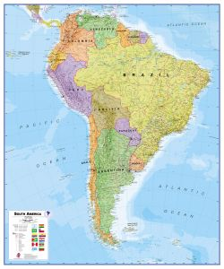 Large South America Wall Map Political (Paper)