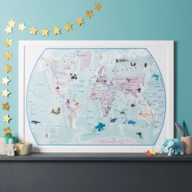 World Illustrated Sticker Map (Paper Single Side Lamination)