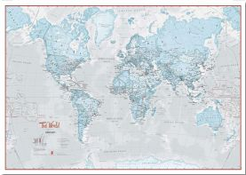 Large The World Is Art Wall Map - Aqua (Pinboard)