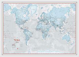 Medium The World Is Art Wall Map - Aqua (Wood Frame - White)