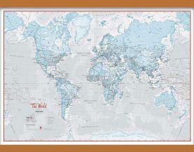 Medium The World Is Art - Wall Map Aqua (Wooden hanging bars)