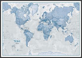 Large The World Is Art Wall Map - Blue (Wood Frame - Black)