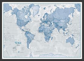 Small The World Is Art - Wall Map Blue (Wood Frame - Black)