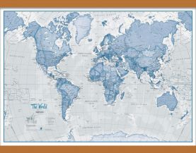 Small The World Is Art - Wall Map Blue (Wooden hanging bars)