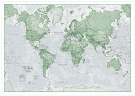 Large The World Is Art - Wall Map Green (Wood Frame - White)