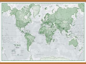 Huge The World Is Art - Wall Map Green (Wooden hanging bars)