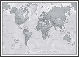 Large The World Is Art - Wall Map Grey (Wood Frame - Black)