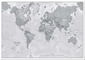Large The World Is Art - Wall Map Grey (Pinboard)