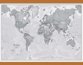 Medium The World Is Art - Wall Map Grey (Wooden hanging bars)