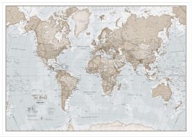 Large The World Is Art Wall Map - Neutral (Pinboard & wood frame - White)
