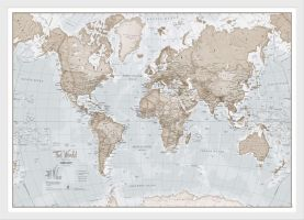 Small The World Is Art Wall Map - Neutral (Wood Frame - White)