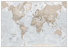 Large The World Is Art - Wall Map Neutral (Paper)