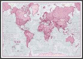 Large The World Is Art Wall Map - Pink (Wood Frame - Black)