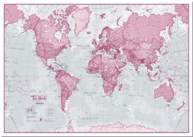 Small The World Is Art - Wall Map Pink (Pinboard)