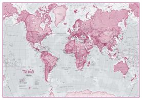 Large The World Is Art - Wall Map Pink (Paper)
