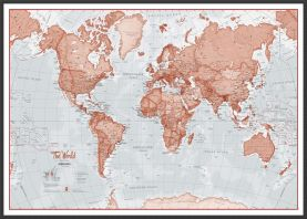 Large The World Is Art - Wall Map Red (Wood Frame - Black)