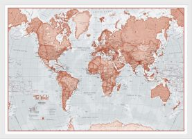 Medium The World Is Art Wall Map - Red (Wood Frame - White)