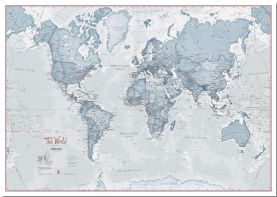 Large The World Is Art Wall Map - Teal (Pinboard)