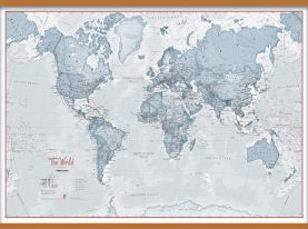 Huge The World Is Art - Wall Map Teal (Wooden hanging bars)