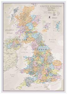 Large UK Classic Wall Map (Pinboard & wood frame - White)
