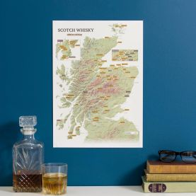 Scratch-Off Scotland Whisky Distilleries Print
