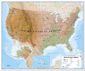 Large Physical USA Wall Map (Pinboard)