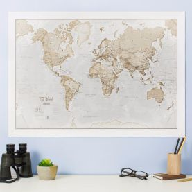 Medium The World Is Art Wall Map - Neutral (Silk Art Paper)