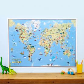 Kids Cartoon World Map (Silk Art Paper)
