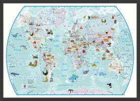 World Illustrated Sticker Map (Pinboard & wood frame - Black)