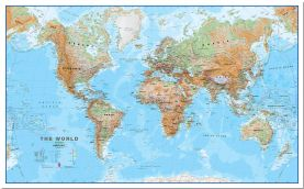 Large Physical World Wall Map (Pinboard)