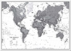 Large World Wall Map Political Black & White (Pinboard)