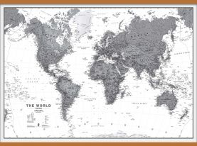 Huge World Wall Map Political Black & White (Wooden hanging bars)
