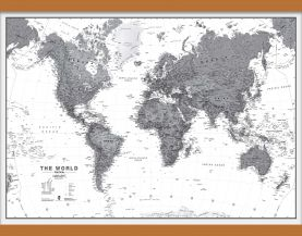 Medium World Wall Map Political Black & White (Wooden hanging bars)