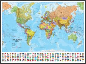 Large Political World Wall Map with flags (Pinboard & wood frame - Black)